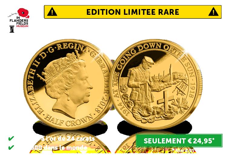 Pièce Commémorative Officielle Edition Limitée de 2018 plaquée or 24 carats de la Grande Guerre