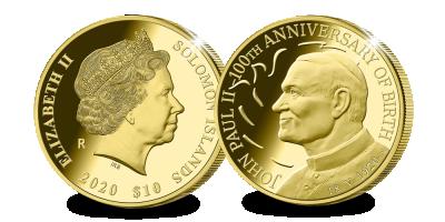 La pièce d'1/10 oz or officiellement certifiée par le Vatican, frappée à Rome, en l'honneur du 100eme anniversaire du pape Jean Paul II | Pièce en or 1/10 oz en l'honneur du 100eme anniversaire du pape...