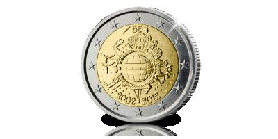 Pièce Commémorative Officielle de 2 Euros: 10 ans de l'Euro en Belgique