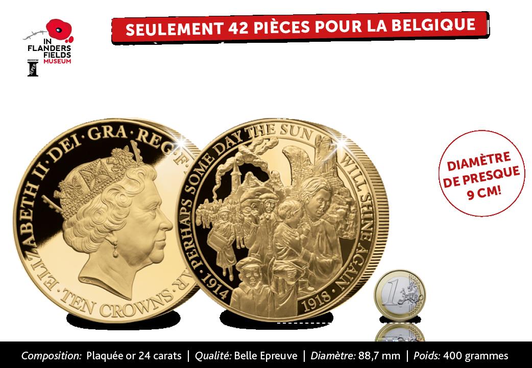 L'apogée absolue de la série commémorative officielle sur la Première Guerre mondiale : La pièce commémorative de 10 couronnes plaquée à l'or 24 carats « La Fuite des citoyens belges »