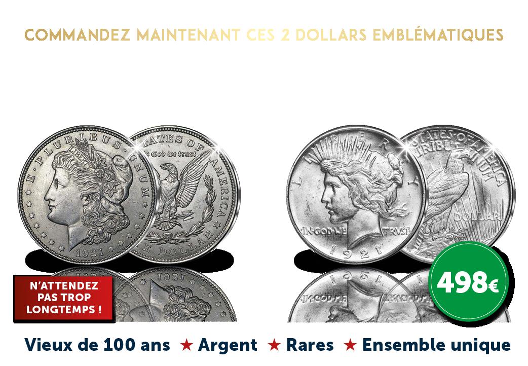 2 Dollars emblématiques, de 1921 Dernier Morgan Dollar + Peace Dollar en haut relief