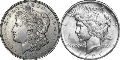 2 Dollars emblématiques, de 1921 Dernier Morgan Dollar + Peace Dollar en haut relief | Ensemble Dollars 1921 en argent massif