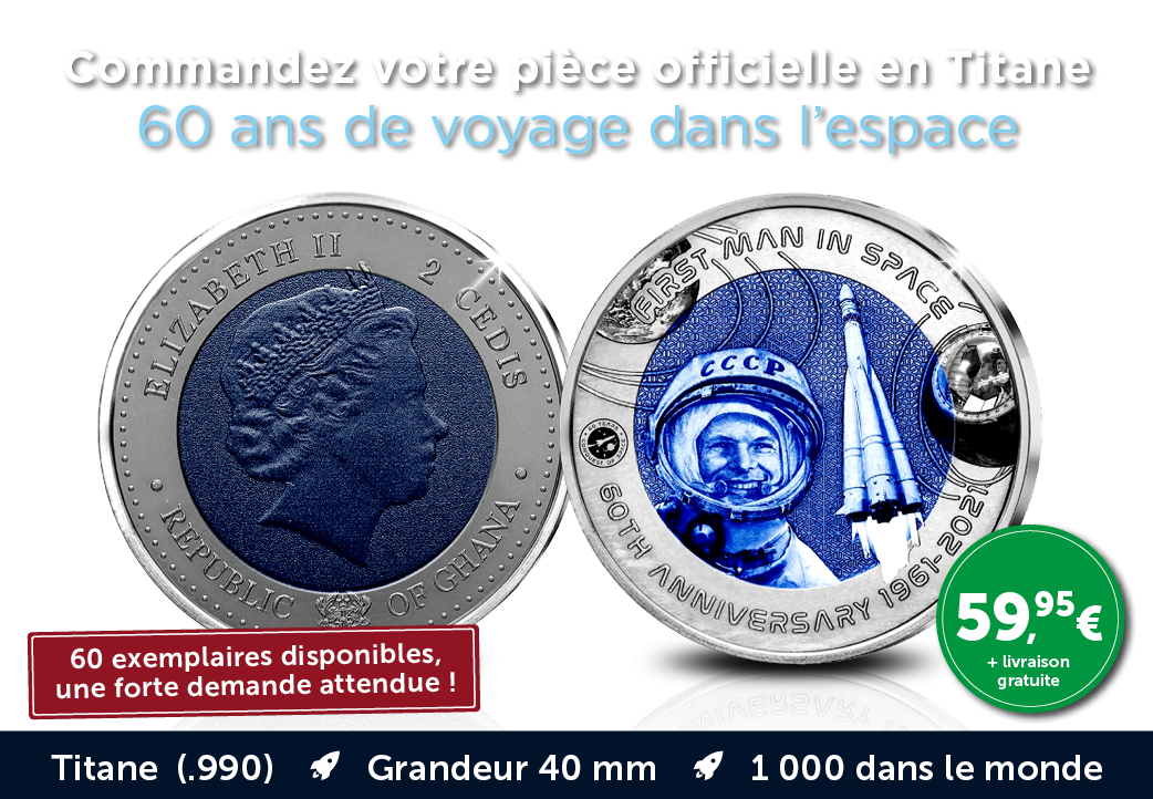 Pièce Officielle en Titane - 60 ans de voyage dans l'espace