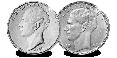 Pour la première fois réunies dans 1 ensemble !: Les 20 francs de Léopold III en argent