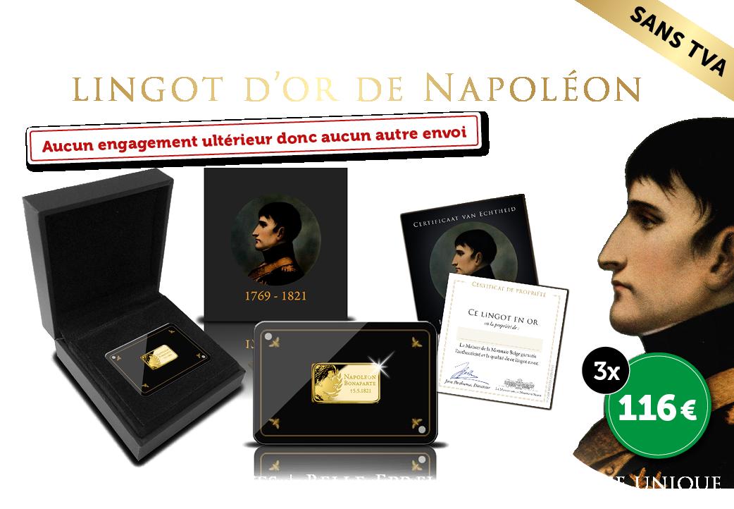 Lingot d'or massif 24 carats 200eme anniversaire de la mort de Napoléon