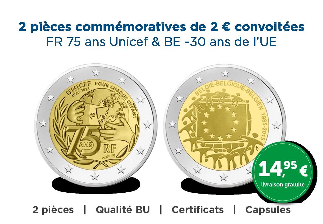 2 Nouvelles Pièces commémoratives de 2 € avec une remise élevée !