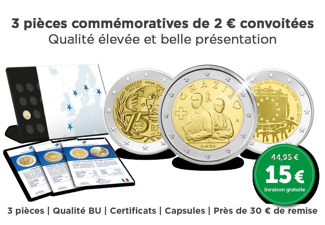 3 pièces commémoratives de 2 € convoitées
