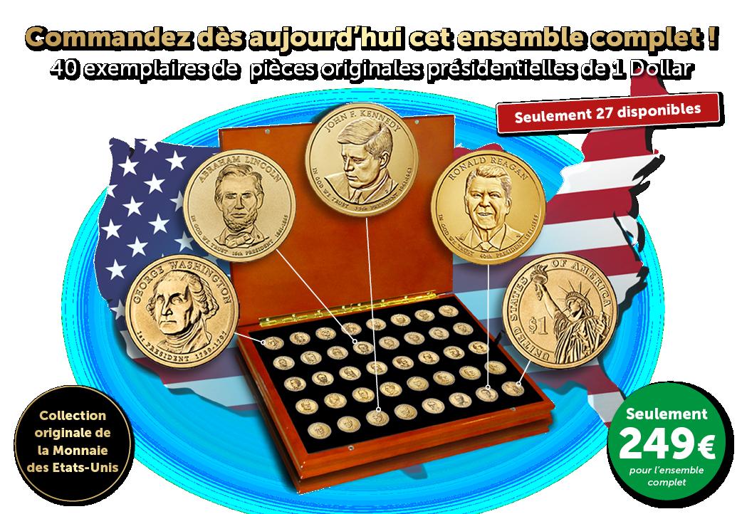 L'ensemble complet de 40 pièces originales présidentielles de 1 Dollar