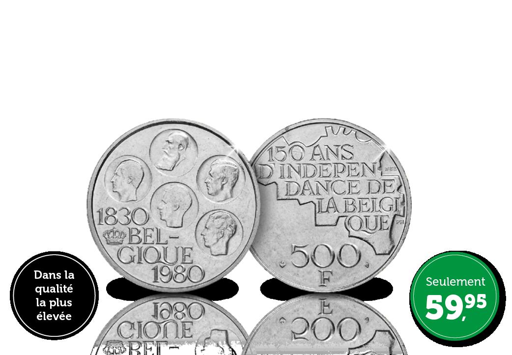 Pièce originale en argent de 500 Francs en l'honneur des 150 ans de l'indépendance