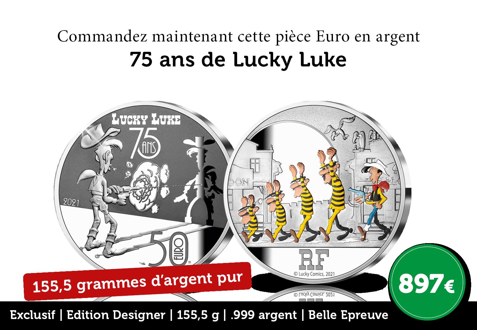 Les 75 ans de Lucky Luke frappés dans pas moins de 155,5 grammes d'argent !