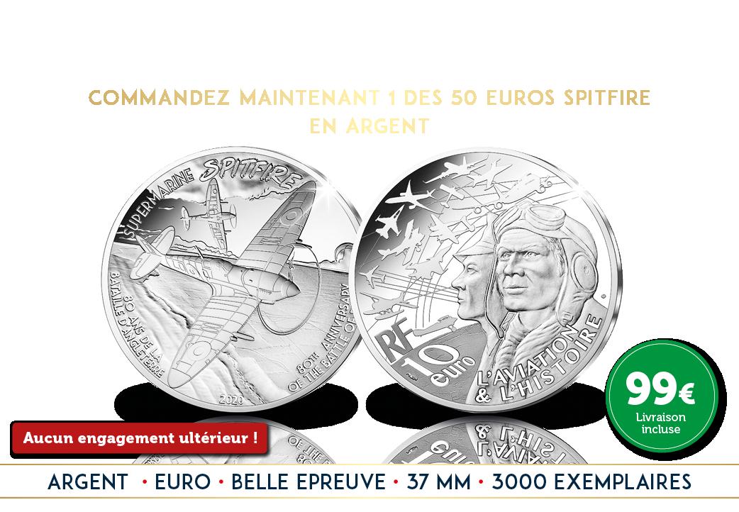 La pièce Euro Spitfire en argent