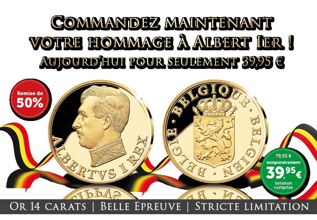 Albert Ier en or maintenant 39,95 € | = remise de 50% !