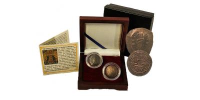 Ensemble de 2 pièces byzantines, des pièces-coupelles en argent anciennes de 1000 ans | Argent 'soucoupe' médiévale...