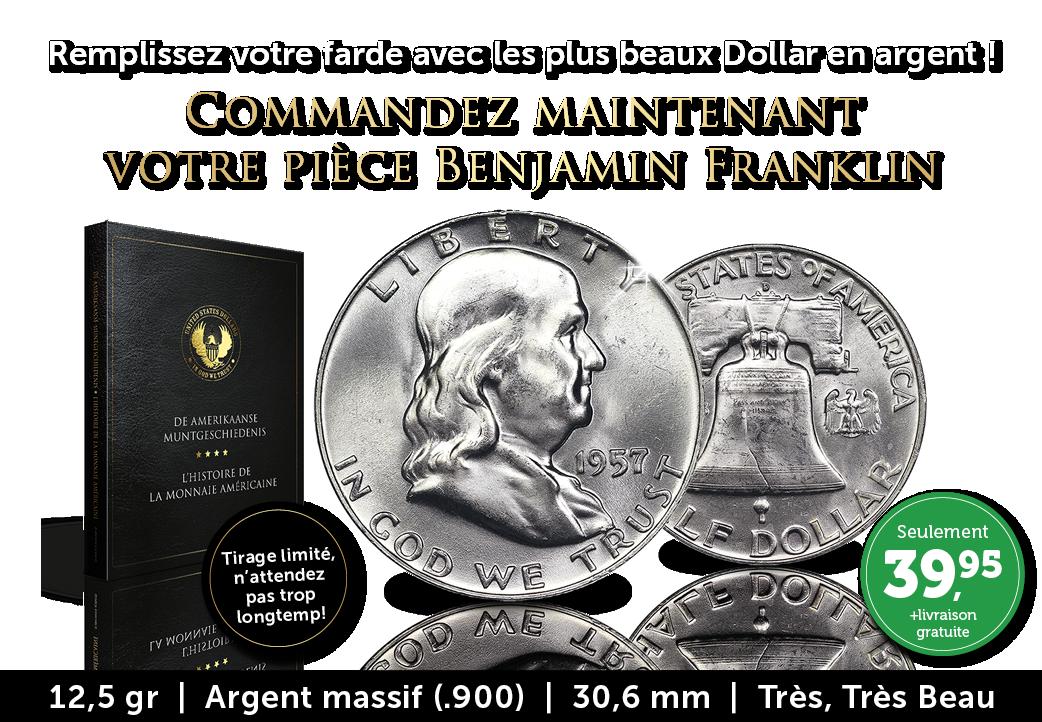 Dollar en argent iconique ! Benjamin Franklin