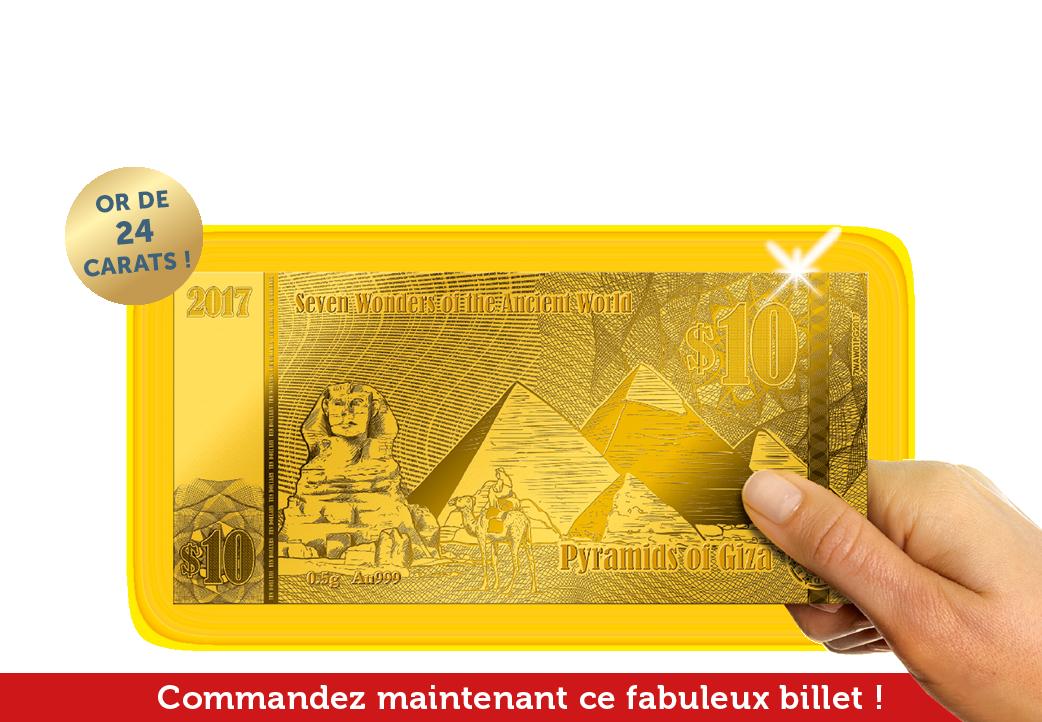 Billet unique en or massif des pyramides de Gizeh