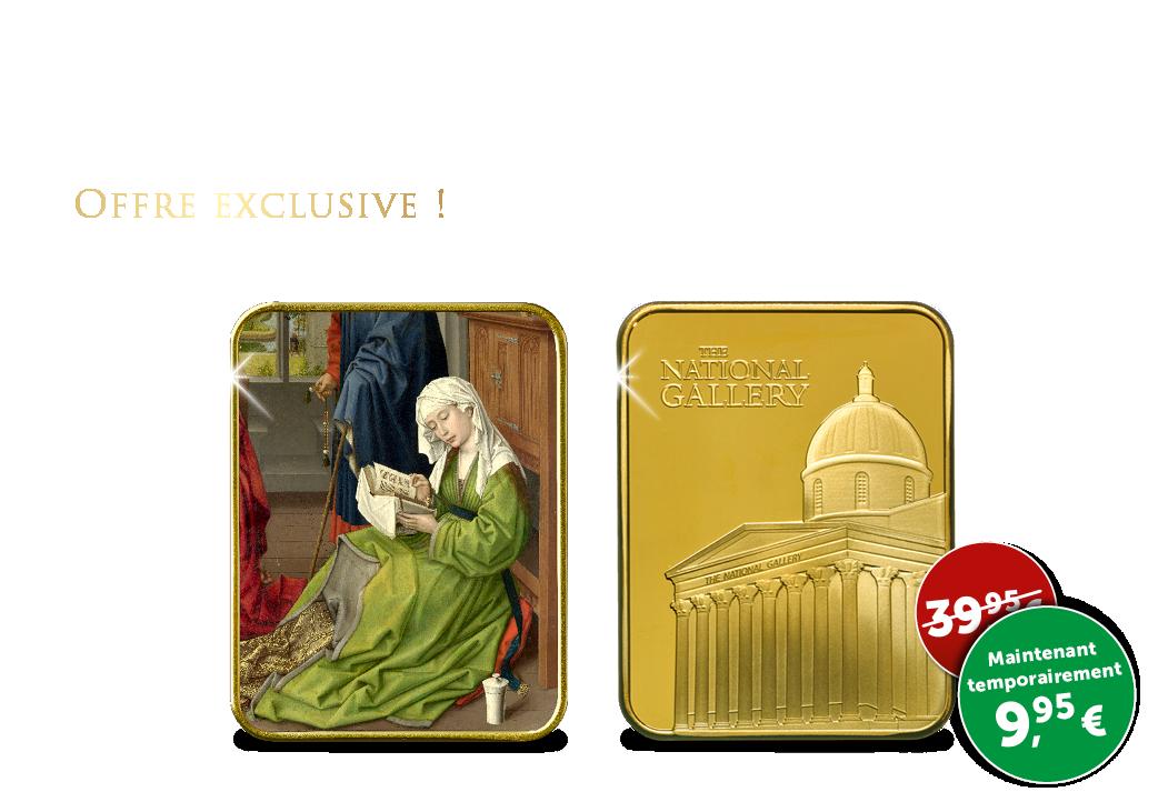 Limité lingot d'art plaqué à l'or de 24 carats ''Marie-Medeleine lit''