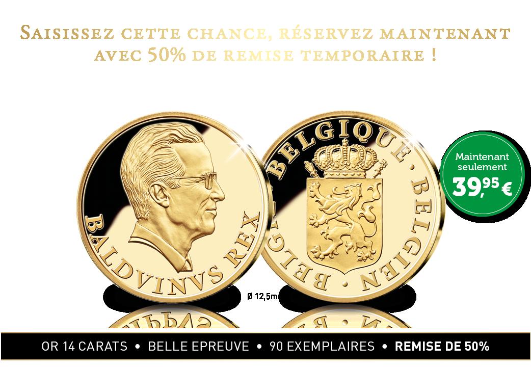 Hommage en or massif de 14 carats au roi du Peuple, le roi Baudouin