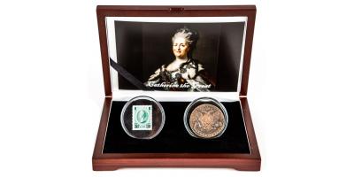 Coffret Catherine la Grande, pièce de monnaie et timbre | Votre ensemble Catherine la Grande