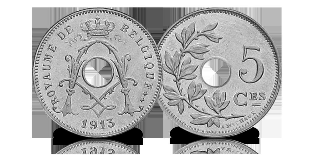 Les cinq centimes du Roi Albert Ier dans 1 ensemble complet !