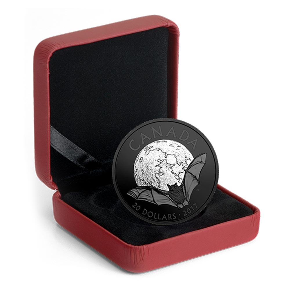 La petite chauve-souris brune sur une magnifique monnaie plaquée au Rhodium