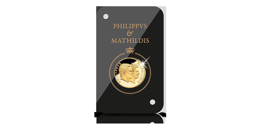 Le premier double portrait de Philippe et Mathilde en or massif