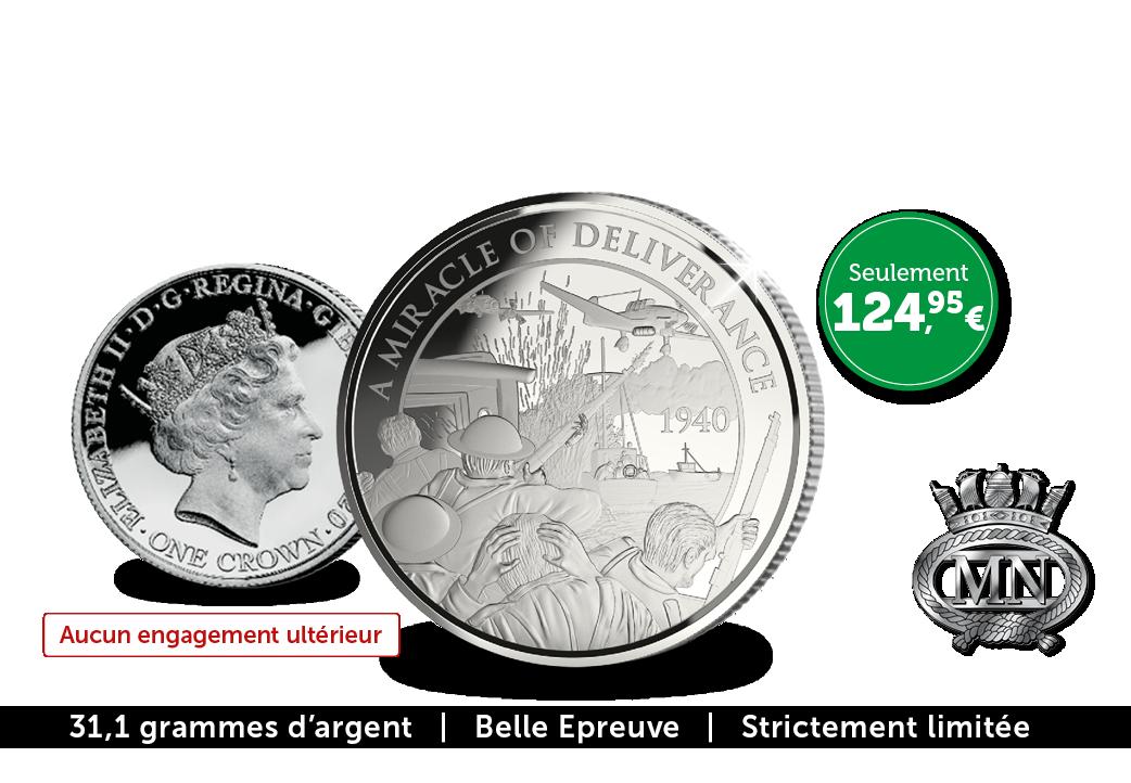 Pièce Commémorative ''Dunkerque'' en argent massif