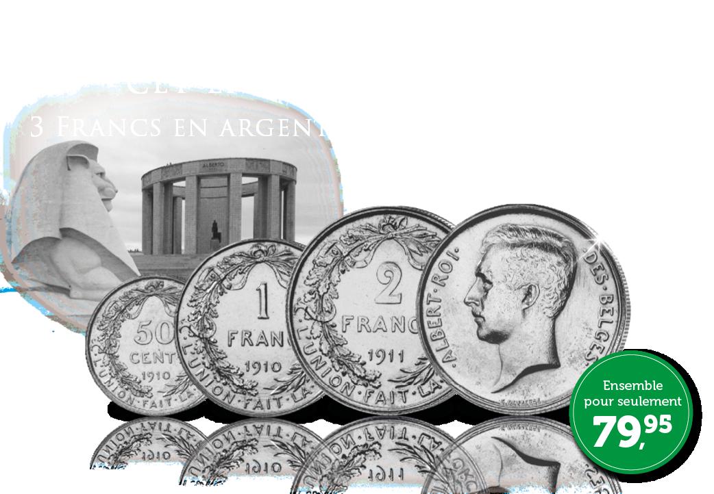 Ensemble complet de 3 Francs en argent – Albert Ier
