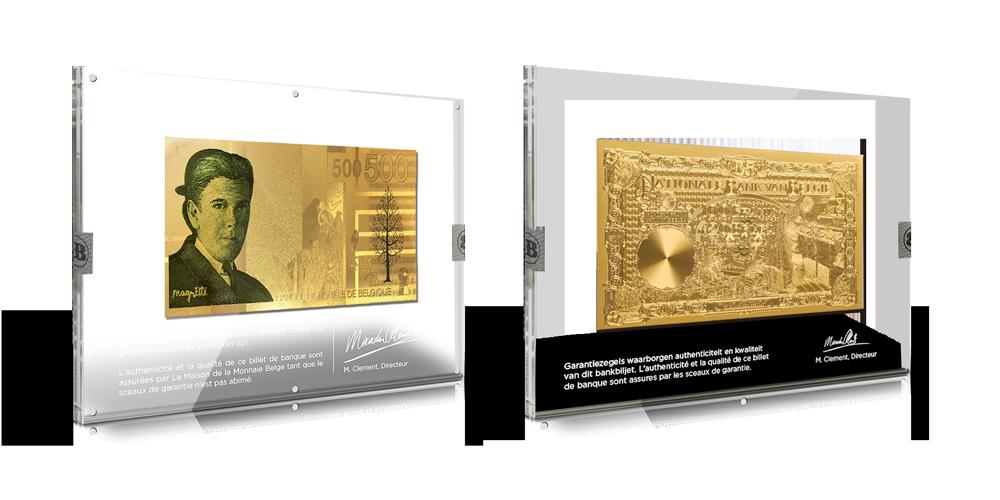 Primeur Série de répliques de billets de banque en or: Magritte et Albert et Elisabeth