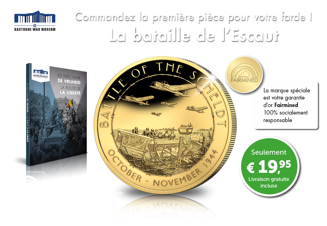 La bataille de l'Escaut, grande pièce plaquée or 24 carats