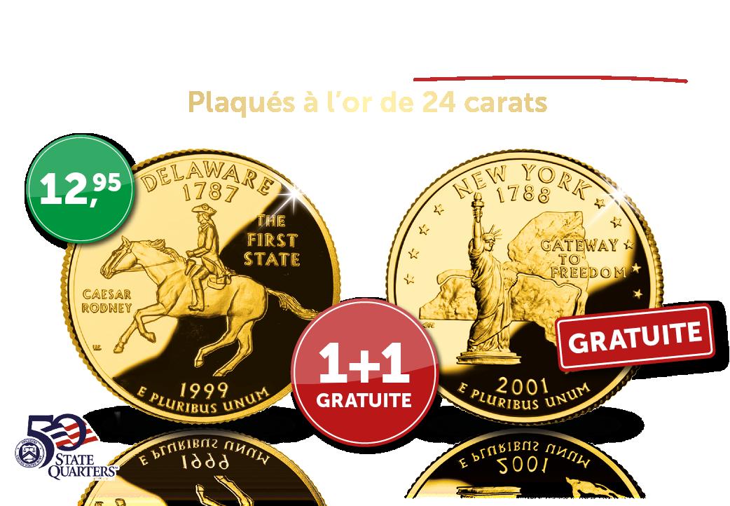 Commandez dès maintenant le Dollar plaqué à l'or de 24 carats de l'état de Delaware et vous recevrez gratuitement de notre part l'état de New York.