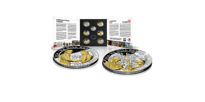 Grande guerre sertie de 7 pièces enrichies d'or et d'argent. | Free starter IFFM + 6 crowns in blist