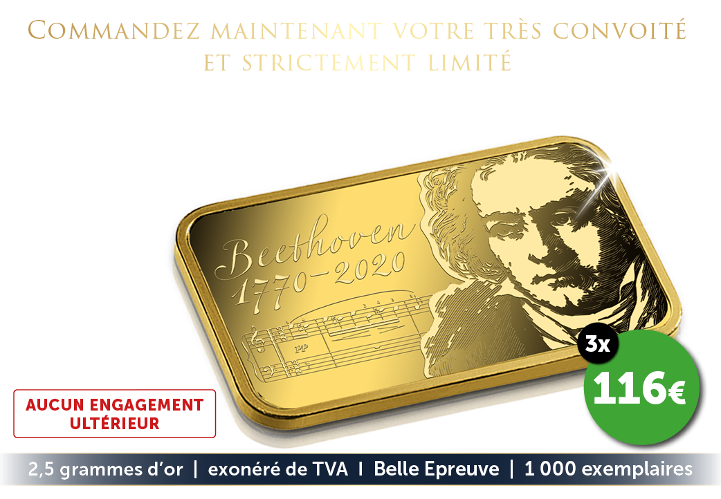 Le lingot en or massif officiel avec le portrait de Beethoven
