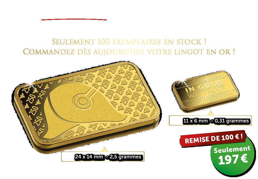 Utilisez maintenant votre chèque-cadeau d'une valeur de 100 € pour 1 des 40 lingots en or exonérés de la TVA.
