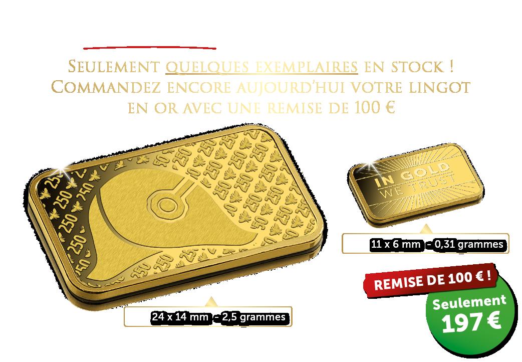 LA FIEVRE DE L'OR ! | 100 €, la remise sur votre prochain lingot !