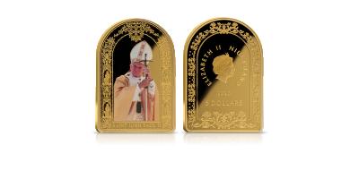 La toute première pièce semi-ovale avec le portrait de Jean-Paul II | Pièce de JP II en argent pur et richement plaquée d'or 24 carat