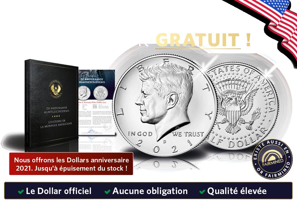 Nous offrons le Dollar JFK 2021 dans cette année d'anniversaire, mais offre valable jusqu'à épuisement du stock !