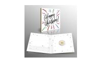 lingot porte-bonheur en or pur d'1/100 once avec une carte-cadeau pour anniversaire