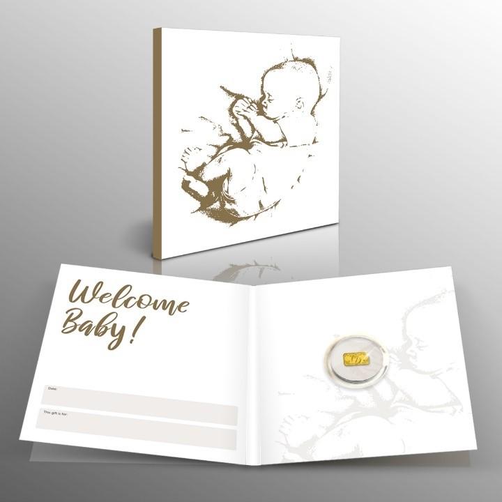 Lingot porte-bonheur en or pur d'1/100 once avec une carte-cadeau pour bébé
