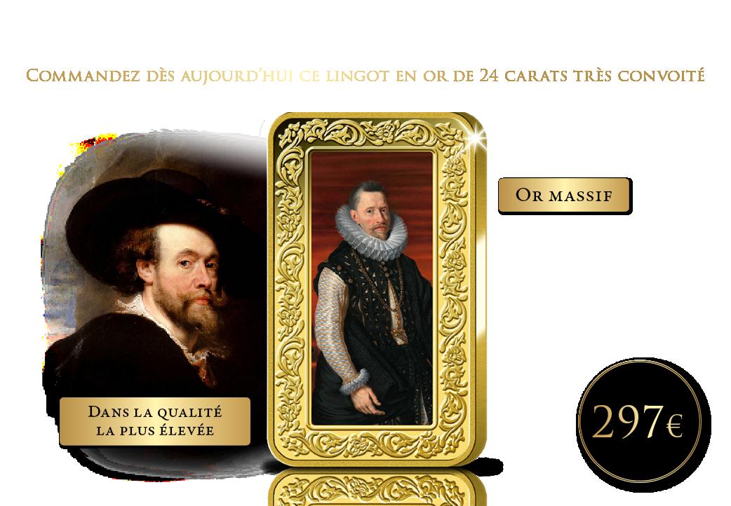 Un véritable lingot en or avec un chef-d'oeuvre de Rubens en couleur