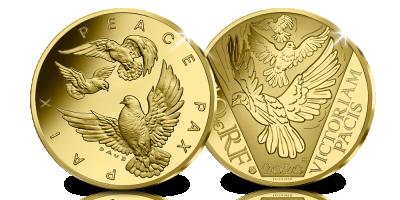 Pièce Euro en or massif 24 carats ''75 ans de paix en Europe'' | Une pièce commémorative précieuse et prestigieuse en 1/10 Once d'or Fairmined en l'honneur de 75 ans de Pa