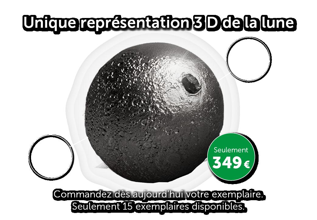 Unique représentation 3D de la lune