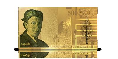 Pour la première fois en or de 24 carats: reproduction du billet de  500 Francs Magritte