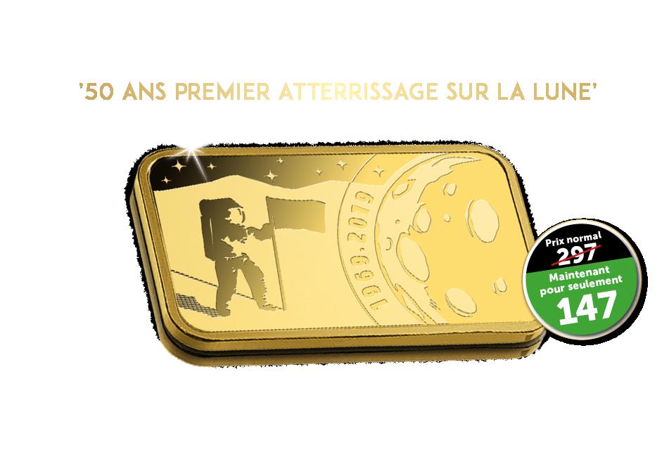 Utilisez maintenant votre chèque-cadeau d'une valeur de 150 € pour 1 des 100 lingots disponibles '50 ans Man on the moon'