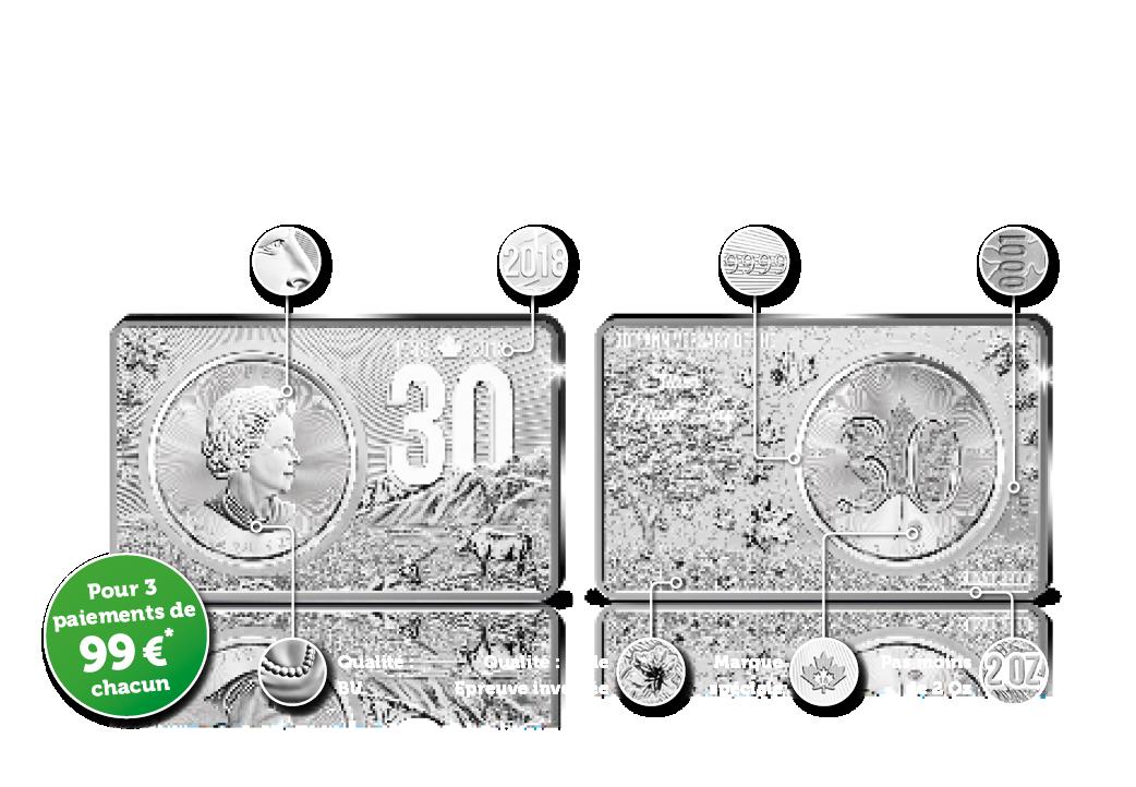 Le Maple Leaf en argent 2018 – Edition Jubilee Total de 3 onces Troy argent | pour la première fois : 99,99% argent