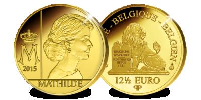 Un des derniers 12,50 Euros frappés à Bruxelles - la reine Mathilde en or pur