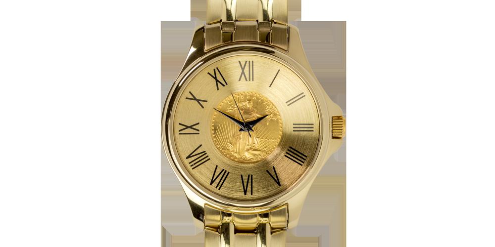 Une belle montre de luxe incrustée d'un véritable Dollar en or