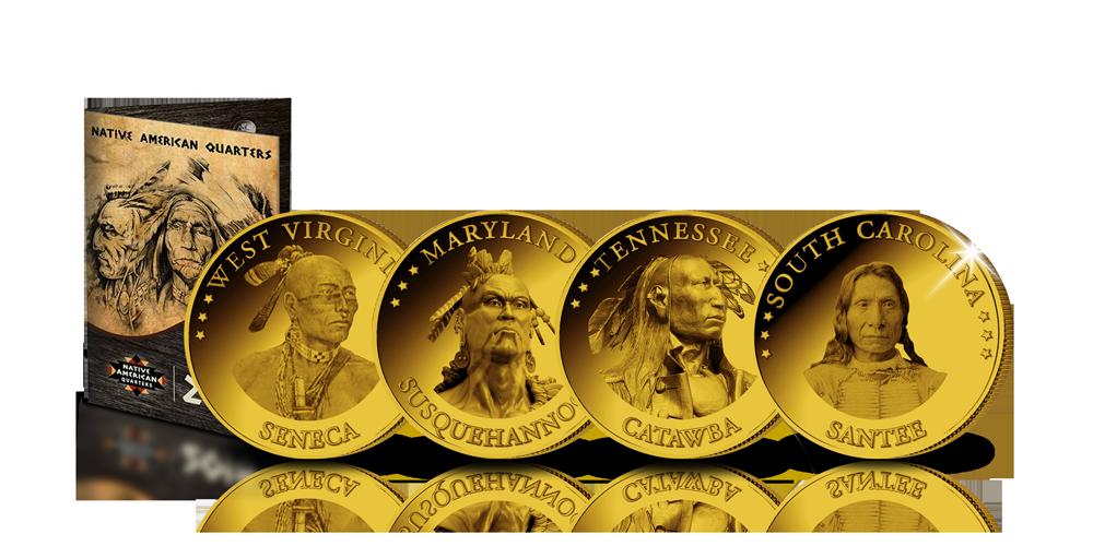 Ensemble complet de 15 Dollars officiels ! Native American Quarters all