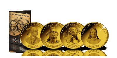 Ensemble complet de 15 Dollars officiels ! Native American Quarters | Votre ensemble 'Native American Quarters' avec quinze quarts de dollars plaqués or 24 carat