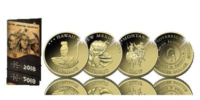 Votre ensemble 'Native American Quarters' avec quinze quarts de dollars plaqués or 24 carats