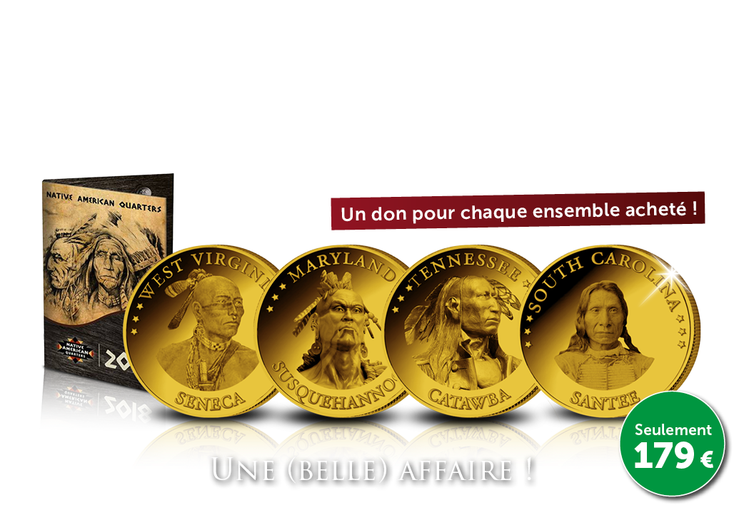 Ensemble complet de 15 Dollars officiels ! Native American Quarters